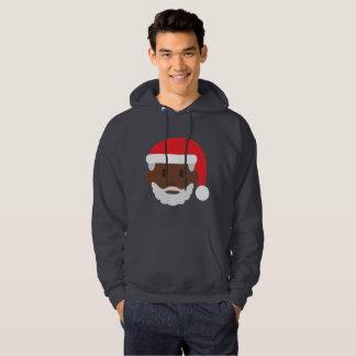 black santa claus emoji xmas mens hoody sweatshirt