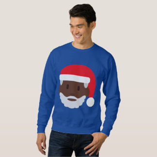 black santa claus emoji xmas mens sweatshirt