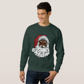 black santa claus mens sweatshirt