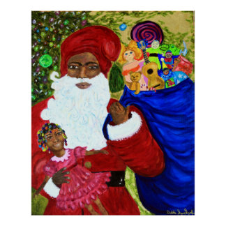 Black Santa Claus Posters - Gifts - Art - Afro