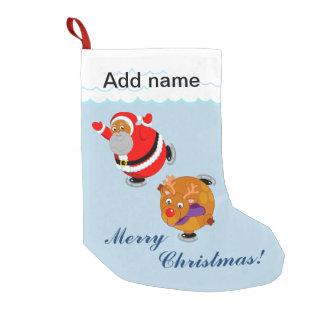 Black Santa Claus & Rudolph ice skating, Small Christmas Stocking
