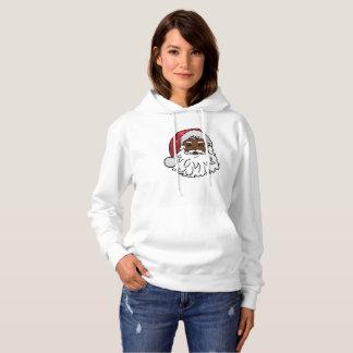 black santa claus womens hooded hoodie sweatshirt