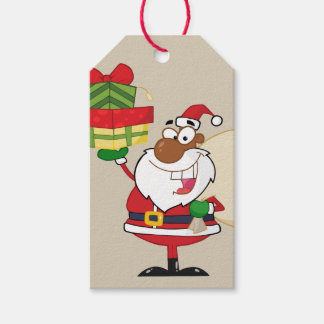 Black Santa Holding Gifts Paper Gift Tag Pack Of Gift Tags