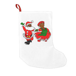 black santa mrs claus christmas stocking