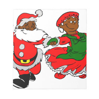 black santa mrs claus notepad