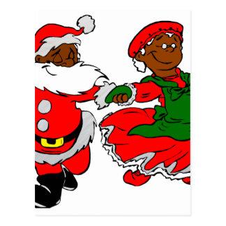 black santa mrs claus postcard