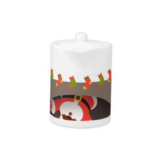 black santa stuck in fireplace