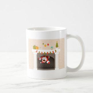 black santa stuck in fireplace coffee mug