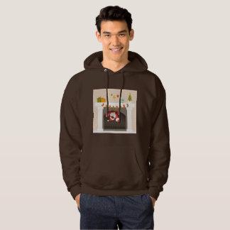 black santa stuck in fireplace hooded sweatshirt