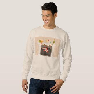 black santa stuck in fireplace mens sweatshirt