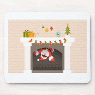 black santa stuck in fireplace mouse pad