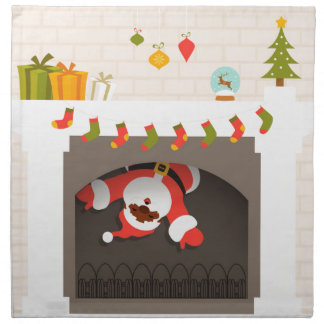 black santa stuck in fireplace napkin