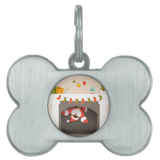black santa stuck in fireplace pet ID tag