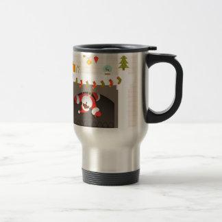 black santa stuck in fireplace travel mug