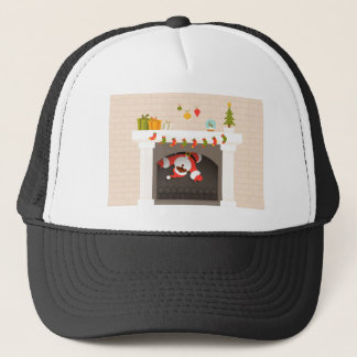 black santa stuck in fireplace trucker hat