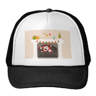 black santa stuck in fireplace trucker hat