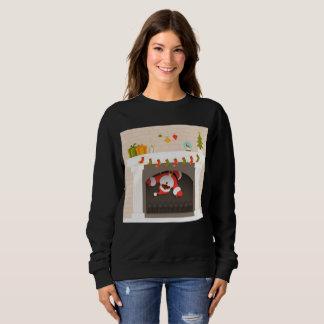 black santa stuck in fireplace womens sweatshirt