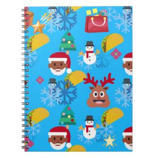 black santa taco christmas notebook