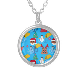 black santa taco christmas silver plated necklace