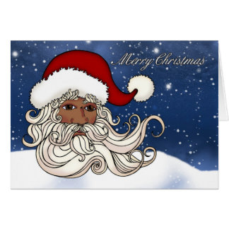 Black Santa With Snow Merry Christmas Card