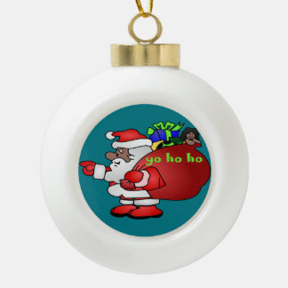 Black Santa Yo Ho Ho Ho  BSYHH Ceramic Ball Christmas Ornament