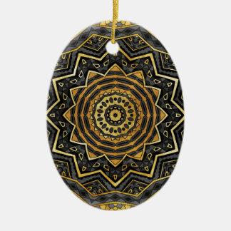 Black sapphire mandala ceramic oval ornament
