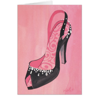 """Black Satin Sling-Back Pump"" card"