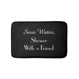 Black Save Water Funny Plush Bath Mat