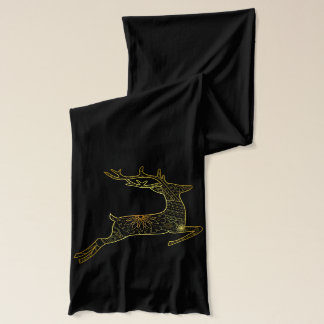 Black scarve with golden deer scarf