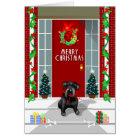 Black Schnauzer Dog Merry Christmas Holiday Card