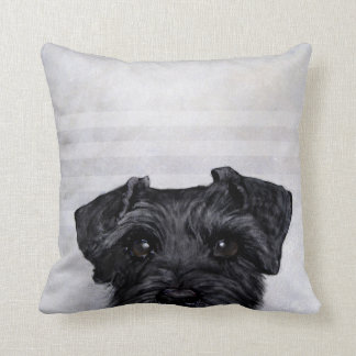 black schnauzer original painting print by Miart Throw Pillow