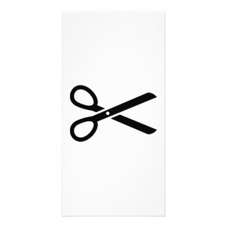 Black scissors photo greeting card