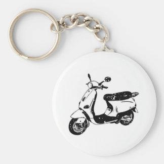 Black Scooter Basic Round Button Keychain