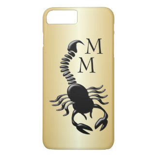 Black Scorpion Design Gold Colored Monogrammed iPhone 8 Plus/7 Plus Case
