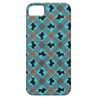 Black Scottie Dog Plaid Tartan iPhone 5 Case