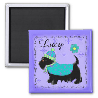 Black Scottie Terrier Dog Name Personalized Purple Magnet