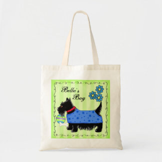 Black Scottie Terrier Dog Personalized Green Tote Bag