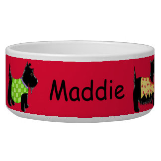 Black Scottie Terrier Dogs Name Personalized Red