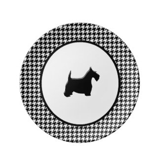 Black Scottie Your Color Houndstooth Porcelain Plates