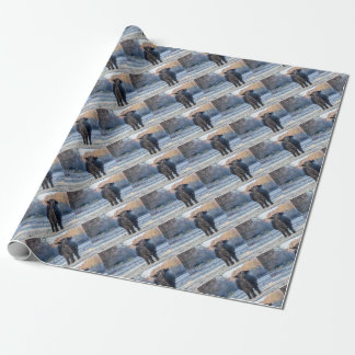 Black scottish highlander cow in winter landscape wrapping paper