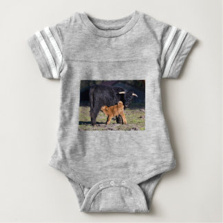 Black Scottish highlander mother cow and young Baby Bodysuit