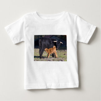 Black Scottish highlander mother cow and young Baby T-Shirt