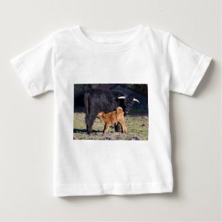 Black Scottish highlander mother cow with drinking Baby T-Shirt