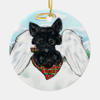Black Scottish Terrier Angel Ceramic Ornament