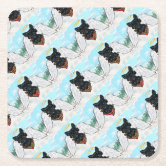 Black Scottish Terrier Angel Square Paper Coaster