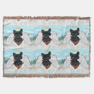 Black Scottish Terrier Angel Throw Blanket