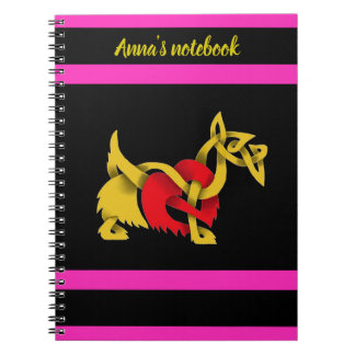 Black Scottish Terrier heart gold celtic design Notebook