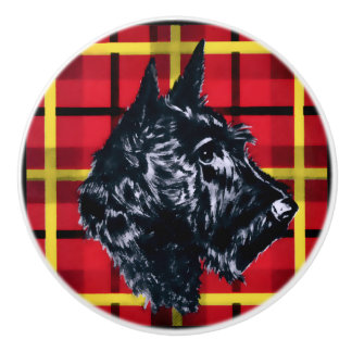 Black Scottish Terrier Scotty dog ceramic knob