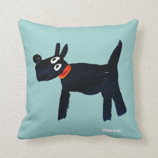 Black Scotty Dog cushion by John Dyer - turquoise