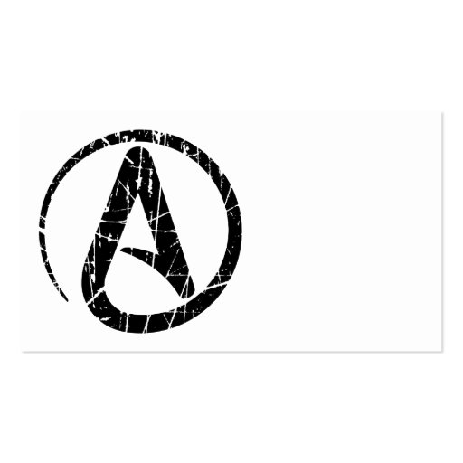 Black Scratched and Worn Atheist Atheism Symbol Business Card Template